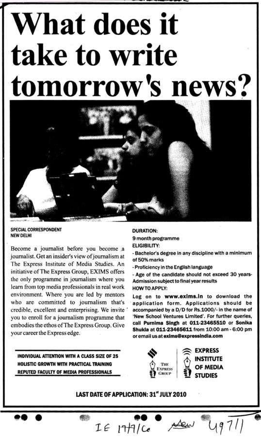 What does it take to write tomorrows news (Express Institute of Media Studies)