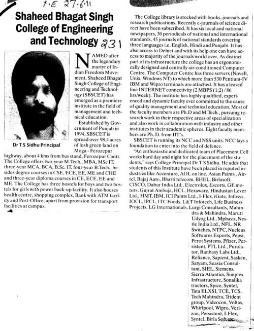 Message of Principal Dr T S Sidhu (Shaheed Bhagat Singh State (SBBS) Technical Campus)