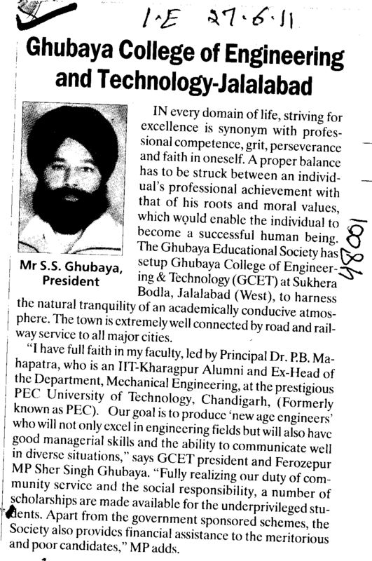 Message of President Mr S S Ghubaya (Ghubaya College of Engineering and Technology GCET)