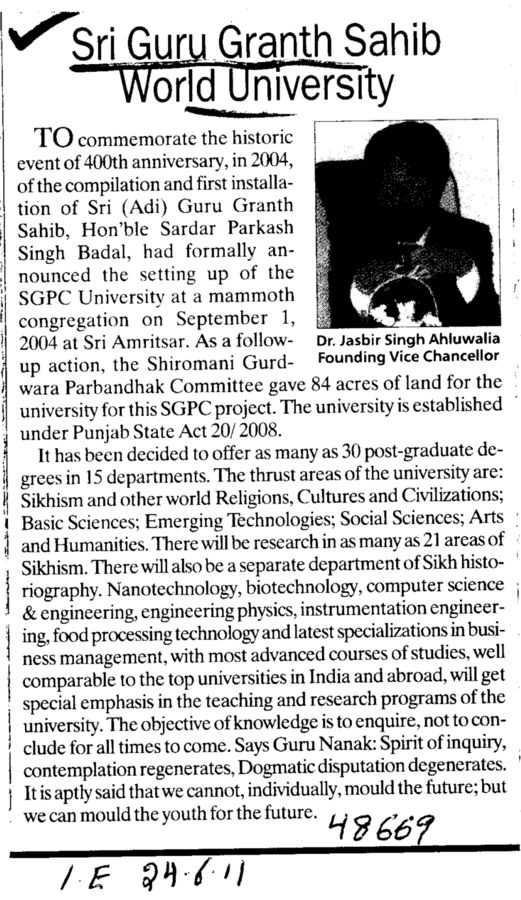 Message of VC Dr Jasbir Singh (Sri Guru Granth Sahib World University)