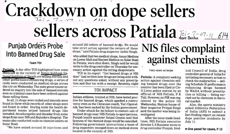 Crackdown on dope sellers across Patiala (Netaji Subhas National Institute of Sports (NIS))