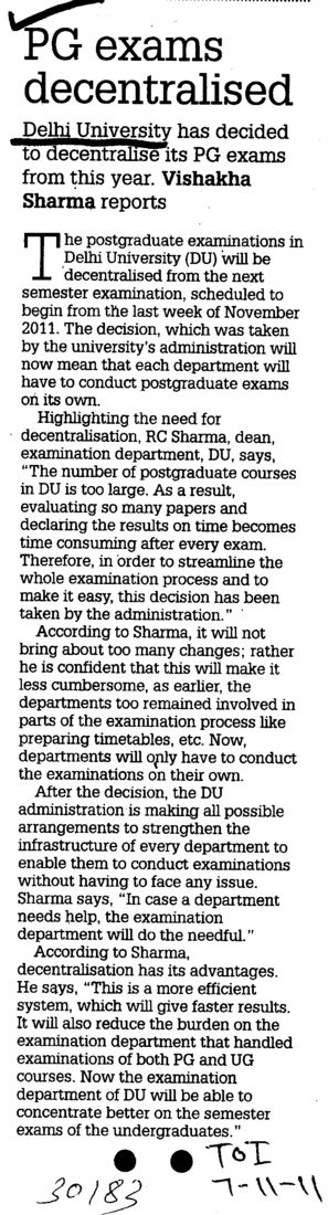 PG exams decentralised (Delhi University)