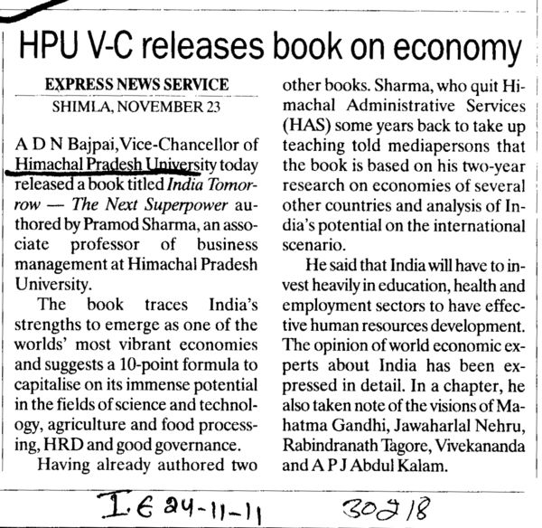 HPU VC releases book on economy (Himachal Pradesh University)