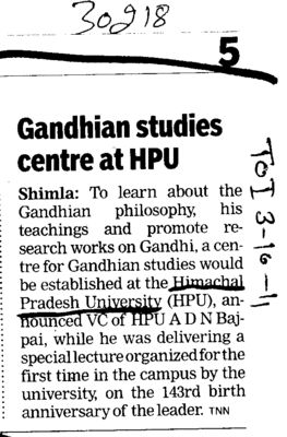 Gandhian Studies centre at HPU (Himachal Pradesh University)