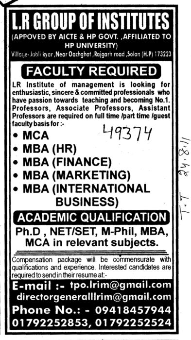 MBA in HR Finance and MCA etc (LR Group of Institutions)