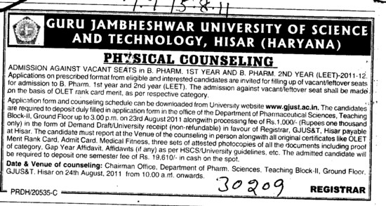 Physical Counselling for BPharm (Guru Jambheshwar University of Science and Technology (GJUST))