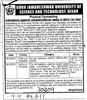 Physical Counselling for MCA (Guru Jambheshwar University of Science and Technology (GJUST))