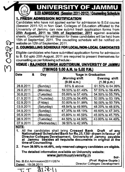 Counselling Schdule for BEd (Jammu University)