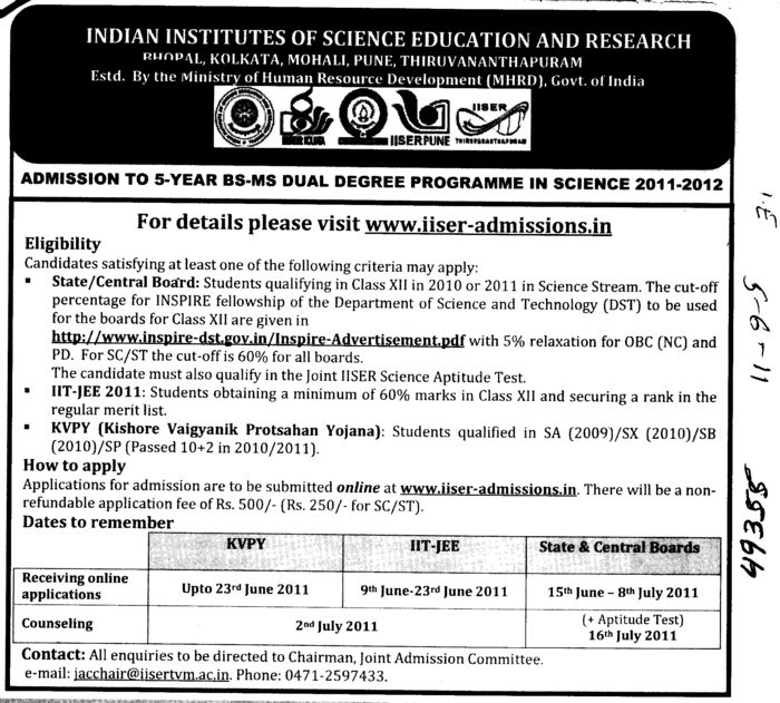 5 years BS MS Dual Degree Programme in Science (Indian Institute of Science Education and Research (IISER))