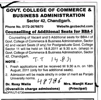 Counselling for BBA (Government College of Commerce and Business Administration (Sector 42))