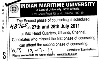 Second phase Counselling on 27th and 28th july 2011 (Indian Maritime University)
