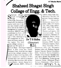 Message of Dr T S Sidhu (Shaheed Bhagat Singh State (SBBS) Technical Campus)