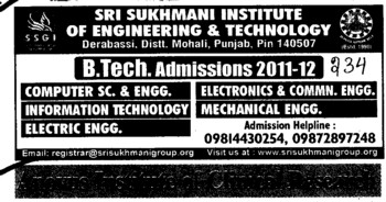 BTech in Computer Science and Mechanical Engg etc (Sri Sukhmani Institute of Engineering and Technology)