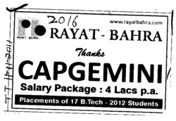 Placements of 17 BTech Students (Rayat and Bahra Group)