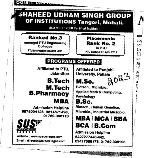 BTech MTech MBA and BSc etc (SUS Group of Institutions)