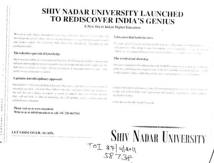 A New Era in Indian Higher Education (Shiv Nadar University)
