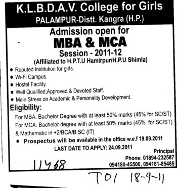 MBA and MCA Course (KLB DAV College for Girls)