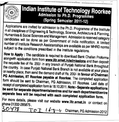 PhD Programmes (Indian Institute of Technology (IITR))