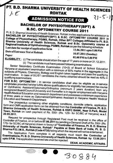 BSc Optometry Course (Pt BD Sharma University of Health Sciences (BDSUHS))