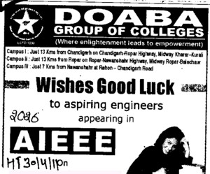 Wishes good luck to aspiring engineers appearing in AIEEE (Doaba Group of Colleges (DGC))