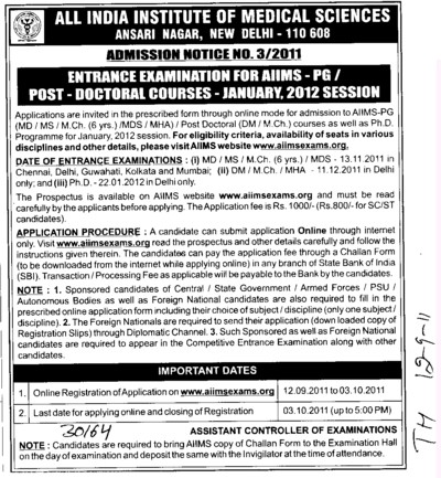 Entrance Examination for PG and Doctoral course (All India Institute of Medical Sciences (AIIMS))