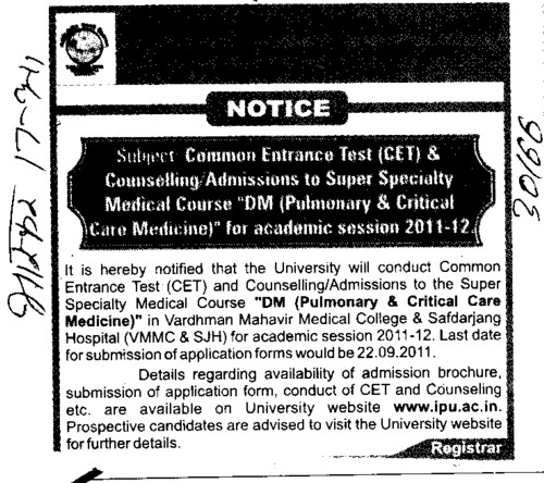 CET and admission to the Super Specialty Medical Course DM (Guru Gobind Singh Indraprastha University GGSIP)