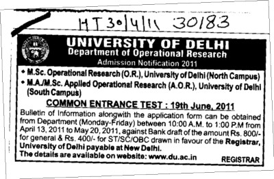 MSc Operational Research and MSc Aplled Operational Research (Delhi University)