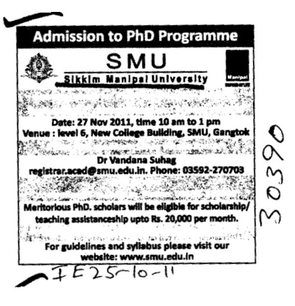 PhD Programmes (Sikkim Manipal University of Health Medical and Technological Sciences)