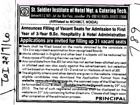Filling up 31 vacant seats (St Soldier Institute of Hotel Management and Catering Technology)