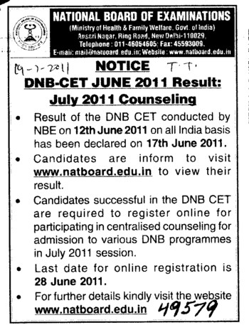 DNB CET June 2011 result (National Board of Examinations)