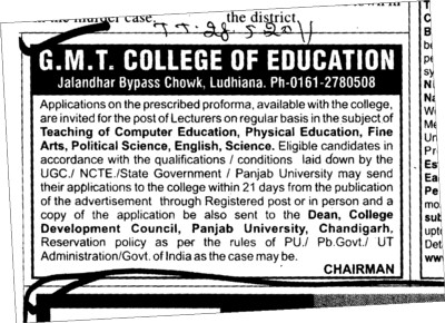 Lecturer for Computer Education Physical Education and Fine Arts etc (GMT College of Education)