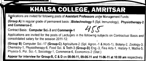 Assistant Proffessor for Computer and Commerce etc (Khalsa College)