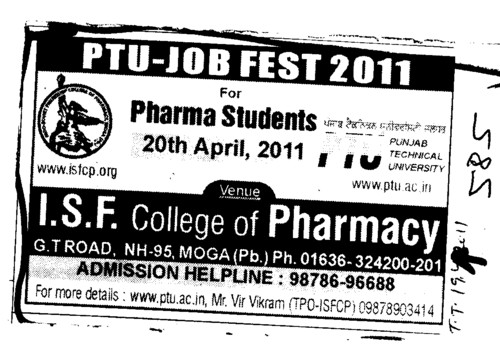 PTU JOB FEST 2011 (ISF College of Pharmacy)
