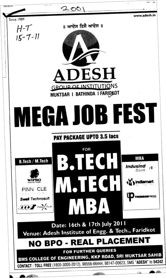 Mega Job Fest for BTech MTech and MBA (Adesh Group of Institutions)
