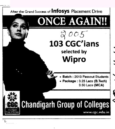 103 CGCians selected by Wipro (Chandigarh Group of Colleges)