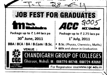 Job Fest for Graduates 2011 (Chandigarh Group of Colleges)