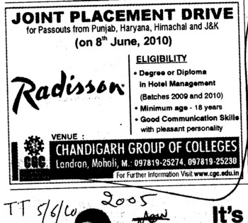 Joint Placement Drive 2010 (Chandigarh Group of Colleges)