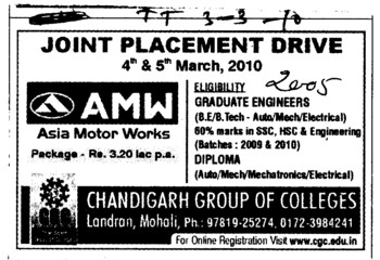 Joint Placement Drive on 4th and 5th March (Chandigarh Group of Colleges)