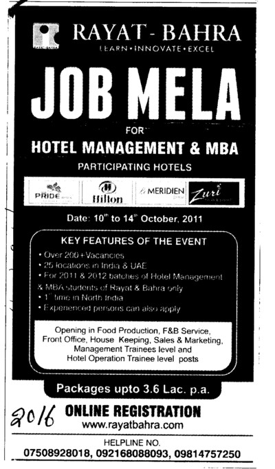 Job Mela for Hotel Management and MBA (Rayat and Bahra Group)