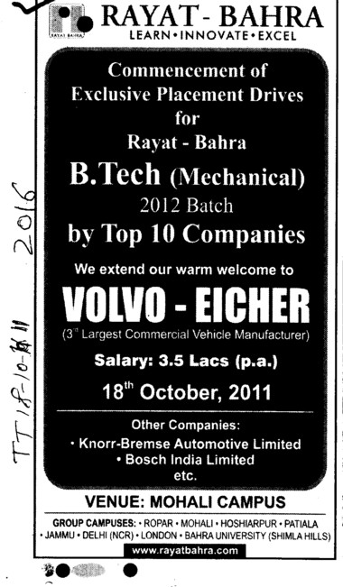 Placement Drives for BTech in Mechanical (Rayat and Bahra Group)