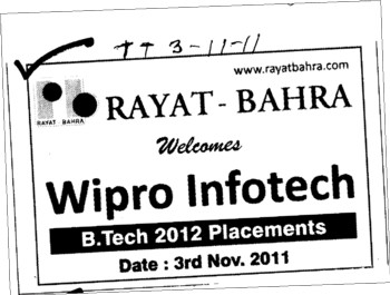 Wipro Infotech for Btech 2012 (Rayat and Bahra Group)