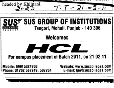 HCL for Campus Placement of Batch 2011 (SUS Group of Institutions)