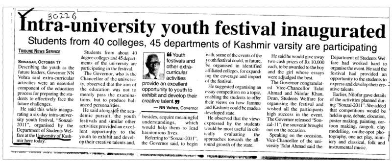 Intra university youth festival inaugurated (University of Kashmir Hazbartbal)