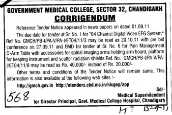 Change in tender notice (Government Medical College and Hospital (Sector 32))