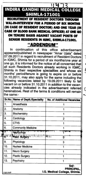 Addendum in Recruitment of Resident Doctors (Indira Gandhi Medical College (IGMC))