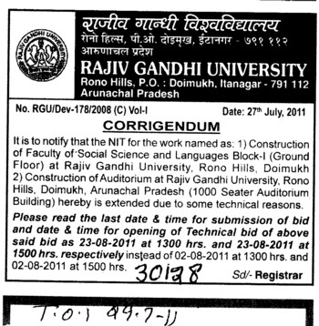 Change in dates some technical reasons (RAJIV GANDHI UNIVERSITY)