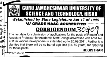 Change in the post of reader (Guru Jambheshwar University of Science and Technology (GJUST))