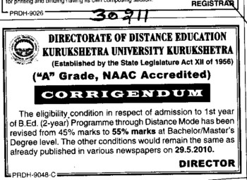 Change in admission of BEd (Kurukshetra University)