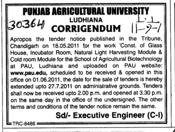 Change in tender notice (Punjab Agricultural University PAU)