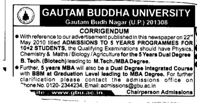 Changes in the admission courses (Gautam Buddha University (GBU))